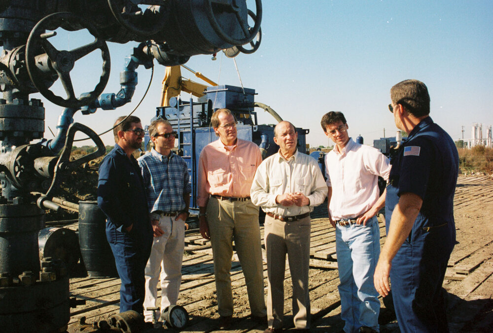 Second from left Sam Jr, Ron Williams and Sam on site.